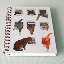 A5 Hard Cover Wiro Notebook Notepad Cats & Cat Flaps Design 80 Ruled Pages New