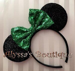 Minnie Mouse Ears Headband Sparkle Shimmer Black Big Sequin Green Bow Christmas