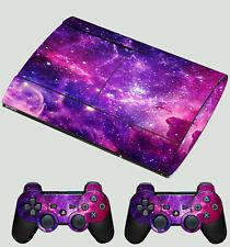 PLAYSTATION PS3 SUPER SLIM GALAXY VIBRANT SPACE STARS SKY STICKER & 2 PAD SKIN