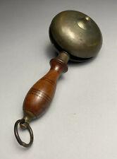 Rare 18-19c. Brass & Wood Fire Watchman's Muffin Bell