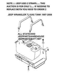 JEEP WRANGLER TJ FUEL GAS TANK STRAP, JEEP # 52100235AD, FITS 1997-2006, NEW