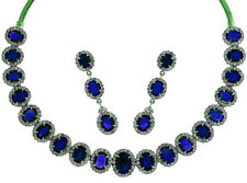 BIG SIZE NATURAL BLUE SAPPHIRE OVAL SINGLE LINE NECKLACE EARRINGS +FREE SHIPPING