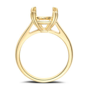 Round 10mm Solid 10K Yellow Gold Prong Setting Solitaire Semi Mount Ring Wedding