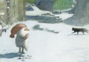 Postkarte: Harald Wiberg - Tomte Tummetot im Schnee mit Katze