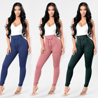 Women's Casual Chffion Harem Pants Elastic High Waist Cropped Length OL Trousers