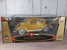 Bburago 1955 Volkswagen Beetle 1:18 Scale Diecast Model Car Burago VW Kafer Gold