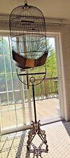 Super XL Antique HENDRYX Wire Dome BIRD CAGE & STAND Victorian Art Nouveau Brass