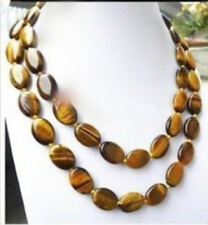 """Natural 13x18MM Oval Tiger Eye Beads Necklace 36"""" JN788"""