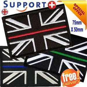 THIN BLUE LINE PATCH UNION JACK  HOOK AND LOOP EMERGENCY SERVICES UK