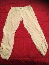 MAGGIE T Size 18 White Linen Tencel Cargo Pants
