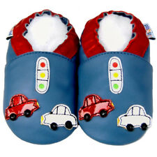 Soft Sole Leather Baby Shoes Toddler Children Boy Crib Infant Kid CarBlue 30-36M