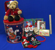 Christmas Tin Canister Filled With Plush Santa Bear Socks And Gifts Lot of 11