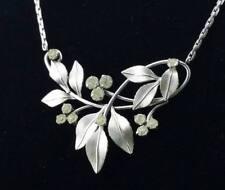 Vtg Krementz Necklace & Screw Back Earring Set Leaves and Flowers w Rhinestones