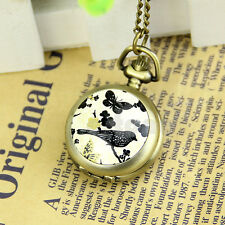 Antique Vintage Butterfly Bird Quartz Pocket Watch Necklace Pendant Chain Gift
