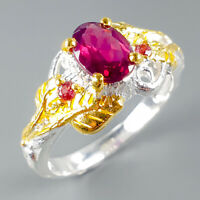 Jewelry for Sale Natural Rhodolite 925 Sterling Silver Ring Size 8/R114234