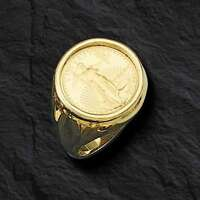 22K FINE GOLD 1/10 OZ US LIBERTY COIN in 14k gold Ring  20 MM  Sz 10