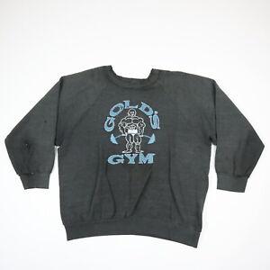Destroyed Paper Thin 80s Golds Gym Raglan Sweatshirt Faded Black Distressed L/XL