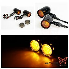 Black Billet LED Turn Signal Light Amber Lamp Indicator For Old School Bobber