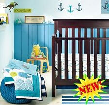 New Baby Boys 8 Pieces Whale Ocean Theme Cotton Nursery Bedding Crib Cot Sets