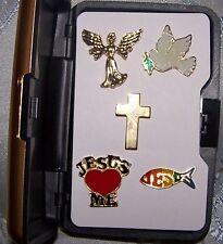 Christian Church Love Jesus Angel Faith Peace Dove Cross Hat Pin Gift Set God AO