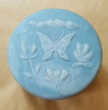 Vintage Design Gift Intern'l Incolay Stone Blue Flowers w Butterfly Jewelry Box
