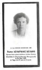 Memorial / death card Seraphine Bedard, died Charlesbourg, QC 1931