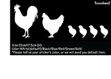 Chicken Family  Car Sticker Reflective Funny decal Car Window Door Wall Decal-