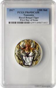2017 1500 Shilling Tanzania Royal Bengal Tiger 2oz. Silver Coin PCGSPR69DCAM FD