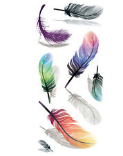 BIG Fashion 3D COLORFUL FEATHERS Temporary Tattoo Cover Scars Gift Girls Women