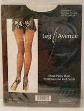 Leg Avenue Sheer Black Rhinestone Back Seam Pantyhose One Size Halloween NEW