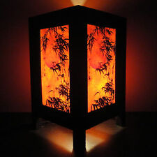 Asian Oriental Japanese Bamboo Dawning Art Bedside Table Lamp Wood Shades Lights