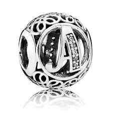"""New Authentic Pandora Bead Charm 791845CZ Alphabet Letter """" A"""" Clear CZ~Vintage"""