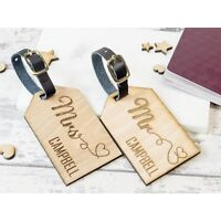 2pcs Personalised Wooden Luggage Tag Mr and Mrs Heart Tags