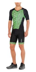 New 2XU Men Perform Full Zip Sleeved Trisuit Triathlon Tri Suit Black GNG Medium
