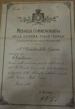 WW1 BREVETTO DIPLOMA MEDAGLIA GUERRA ITALO TURCA ROMA 1913 ARTIGLIERIA att6