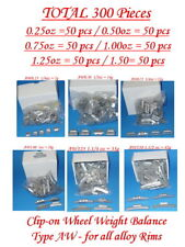 300 Pcs ASSORTMENT CLIP-ON WHEEL WEIGHT BALANCE AW 0.25 0.50 0.75 1.0 1.25 1.50z