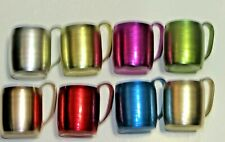 Vintage Set of Eight 1960's Anodized Aluminum Colorful Mugs Htf