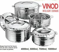 Vinod 4pc Set Stainless Steel Cold Hot Pot Food Insulated Casserole Double Wall