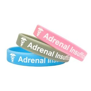 Adrenal Insufficiency Medical Alert Wristband ID Bracelet Silicone Band