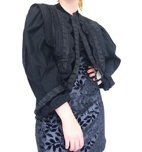 Vintage Victorian Late 1800s black cropped embroidered jacket