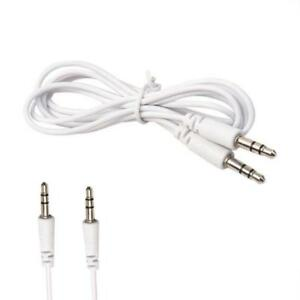 White 3.5mm Jack Male to Male Stereo AUX Cable 3ft/1m Universal Auxillary Cord