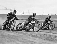"""1946 Dirt Track Motorcycle Racing Old Photo 8.5"""" x 11"""" Reprint"""
