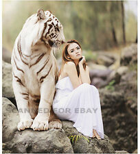 Digital Art non-nude ASIAN MODEL WHITE TIGER female photo pic woman girl print F