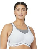 GLAMORISE Elite Performance Wire-Free Sports Bra 1067 Womens Size 36C - White