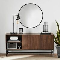 Smart TV Stand Credenza Buffet Table Sideboard Storage Door Console Table Brown