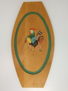 Vtg Rooster Decal Cutting Board Plaque Cheese Tray Wall Decor Mid Century