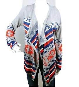 Allison Brittney Womens L tribal print Open Waterfall Sweater Cardigan E24