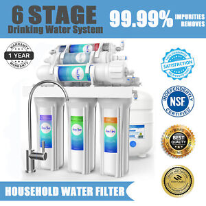 100GPD 6 Stage Alkaline Reverse Osmosis Drinking Water Filter System Purifier
