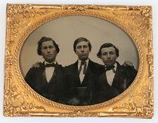 AMBROTYPE 19TH CENTURY ROGUISH BOY BAND. TINTED, 1/4 PLATE HORIZONTAL.
