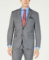 Lauren Ralph Lauren Stretch Gray Blue Windowpane Suit Jacket Mens 42R 42 $450